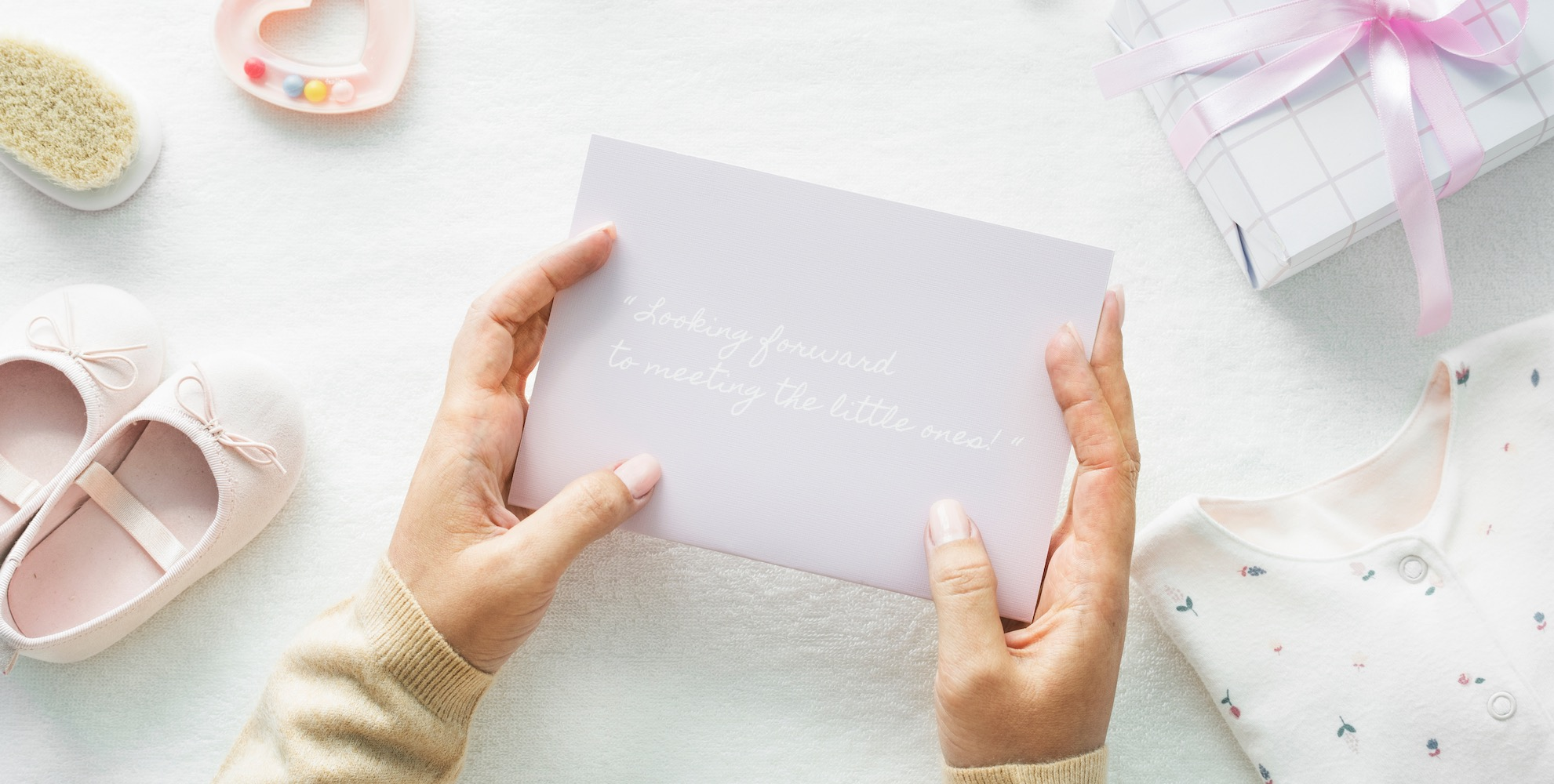 Baby Shower Card In Female Hands