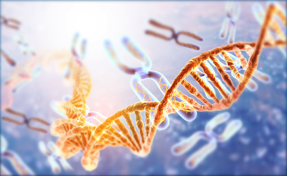 DNA strands on Scientific background