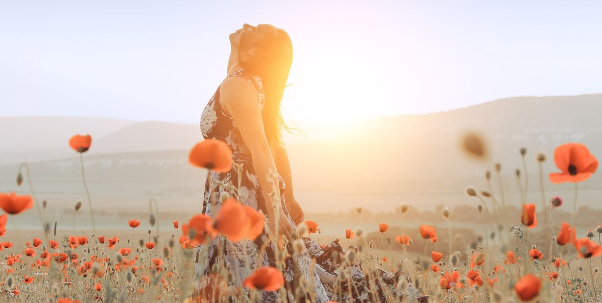 girl in a poppy field at sunset.
