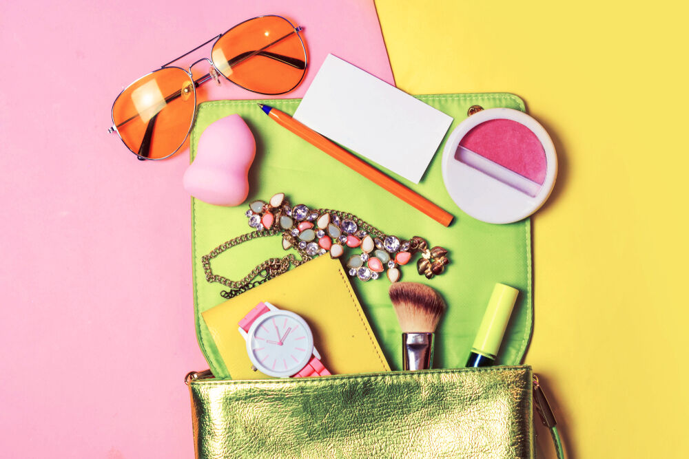 Make up accessories in a girl's bag