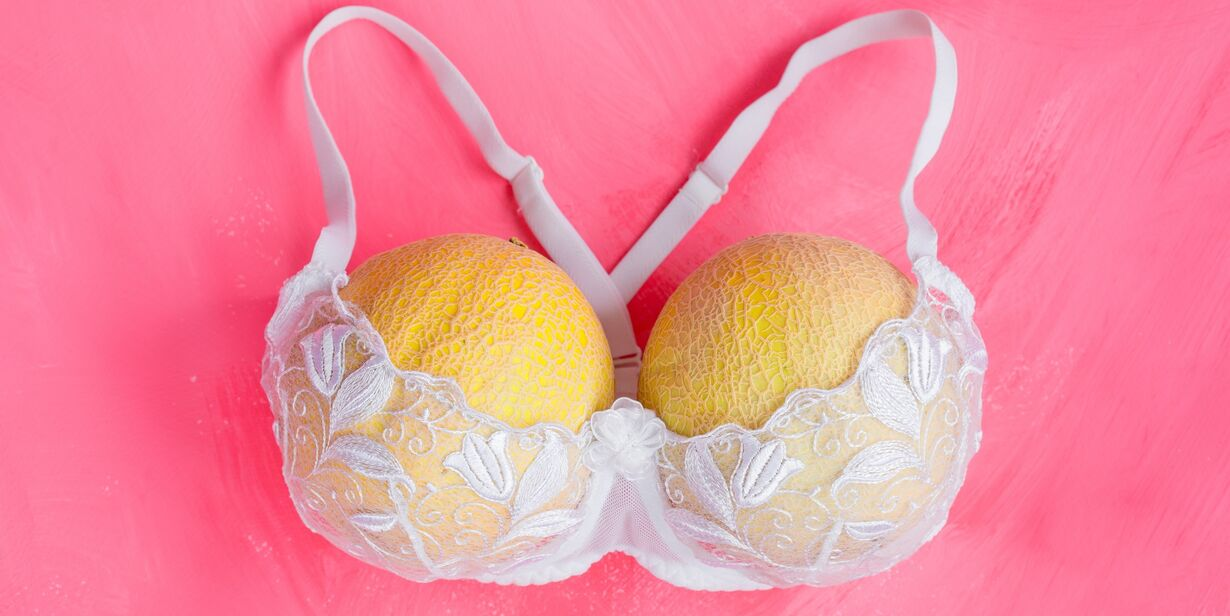 Two melons in bra