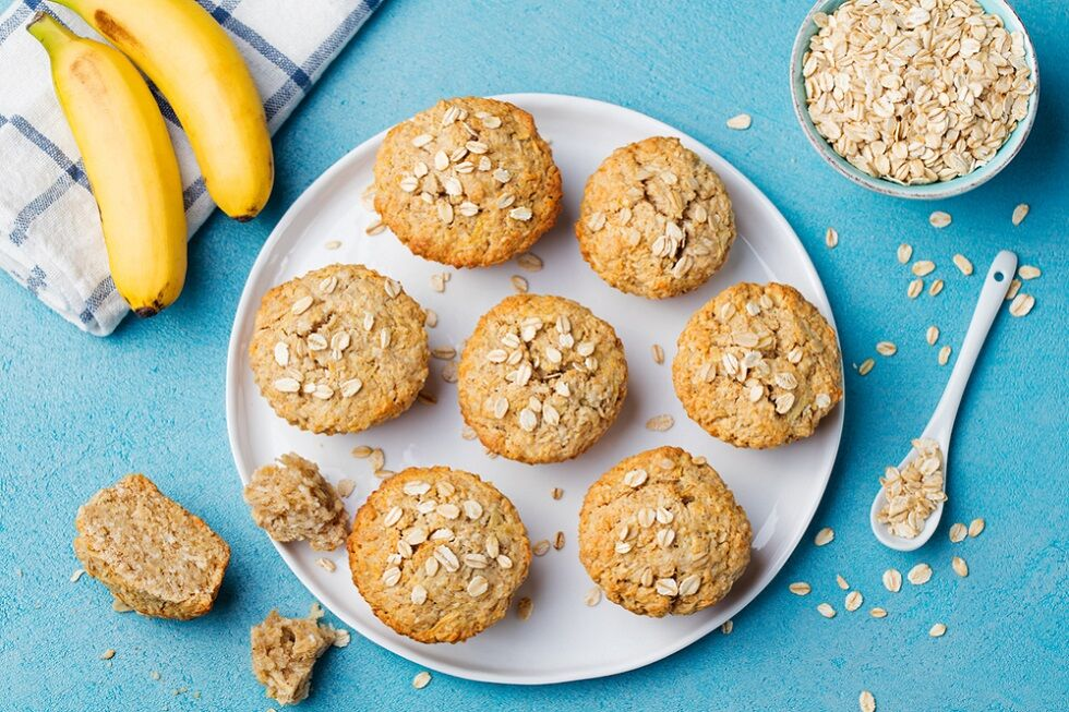 Banana bread muffins - a healthy school snack