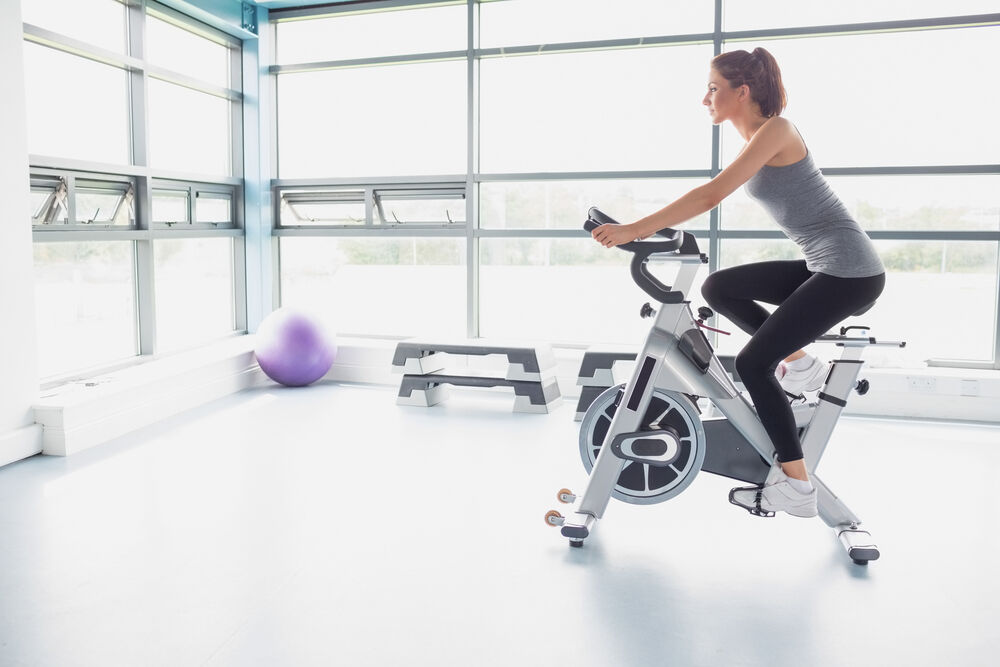 An exercise bike